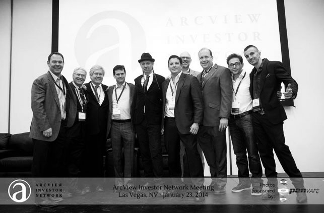 Dooma along with Troy Dayton (The Arcview Group), Steve DeAngelo (Harborside & The Arcview Group), Tripp Keber (Dixie Elixirs), Steve Katz (Therabis) and other Arcview luminaries at Arcview Las Vegas in January, 2014
