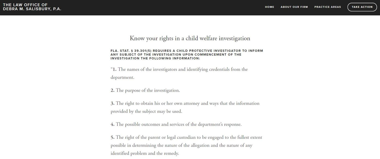 Know Your Rights: Child Welfare Investigation — The Law