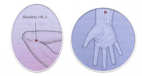 Acupressure points for Fire regulation during summer:   Heart 3  - located on the inner aspect of the elbow, in the soft spot between the bony protrusion and the tendons in the middle of the elbow crease  This point calls upon the balancing nature of Water to counteract excessive Fire in the body, thus calming the spirit and cooling excess heat.   Pericardium 6  - located in the middle of the inner aspect of the forearm, about two finger-widths (your child's fingers) above the wrist crease  This point protects the Heart and calms a wide range of emotional dysregulation.