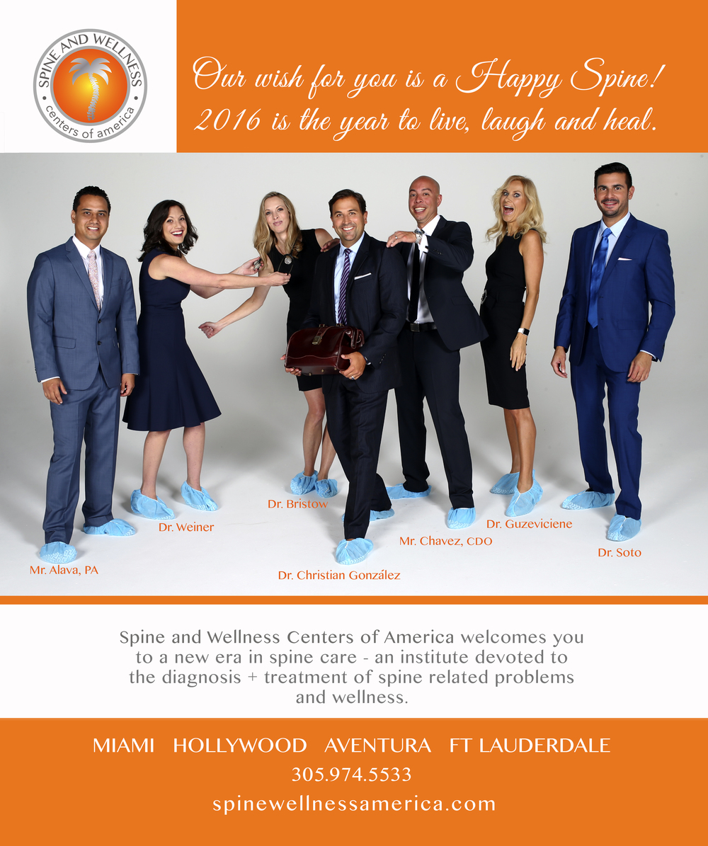 "Client: Spine and Wellness Centers of America   Group of wellness doctors in South Florida. Our team designed the marketing campaign of ""Happiness is our goal"" culminating with an AD for the MIAMI Magazine Art Basel edition."