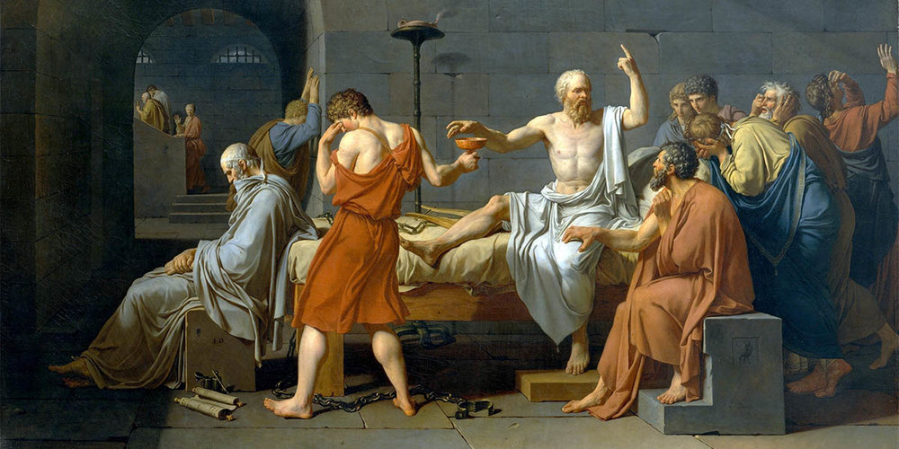 The Death of Socrates. Painting by Jacques-Louis David