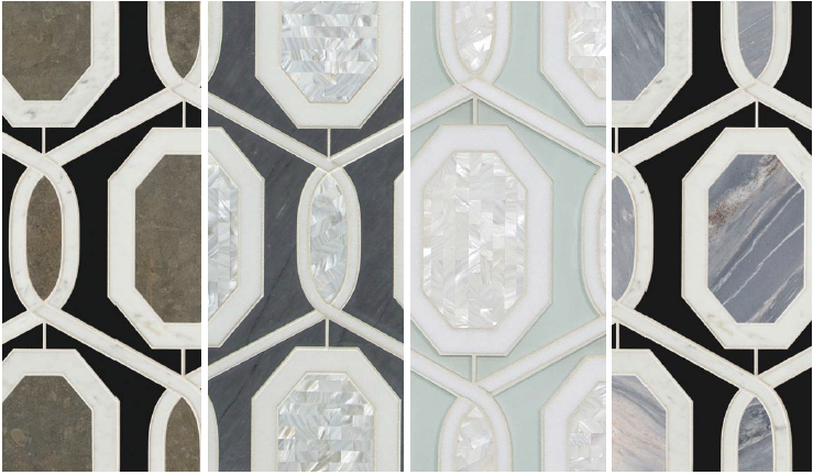 Artistic Tile's Capri waterjet tile (Artistic Tile) variations shown below are all made of stone and rivershell: