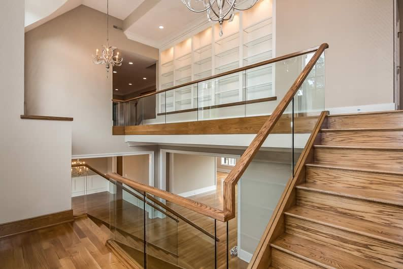Glass and wood railing   