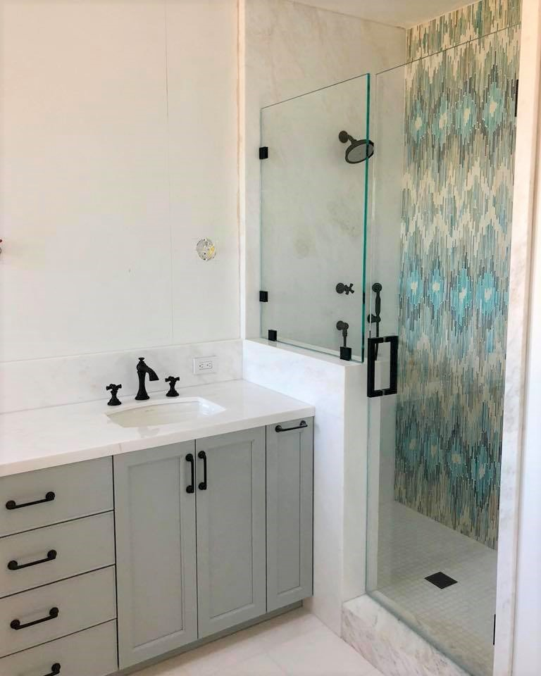 Signature Designs Kitchen Bath - LaJolla Bathroom Remodel.  Feature Wall in New Ravenna Tile