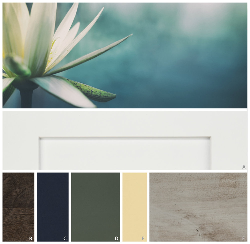 ORGANIC SERENITY   Create a calming oasis that recalls a still garden pool with soothing natural hues of warm gray Peppercorn and lush Eucalyptus. Against a backdrop of clean Sea Salt, velvety Celeste deepens and grounds the palette.   FEATURE  | A Sea Salt   CABINET PALETTE  | B Smoke, C Celeste, D Eucalyptus, E Buttercream, F Peppercorn