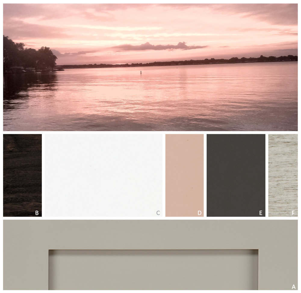 RESTFUL SUNSET   Gentle Blush complements moody Earl Grey and Onyx, creating a soft blend that reflects the beauty of a quiet sunset. A rustic finish like silver Appaloosa or a dark stain like Onyx add texture to the look.   FEATURE  | A Macchiato   CABINET PALETTE  | B Onyx, C Sea Salt, D Blush, E Earl Grey, F Silver Appaloosa