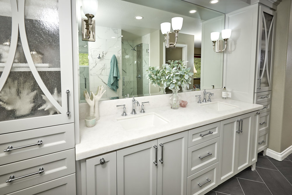 Furniture Vanity is the center piece to this Master Bathroom Remodel