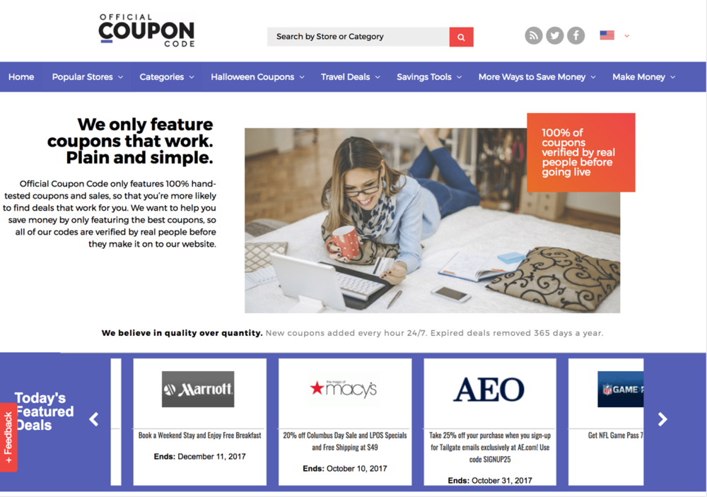 OfficialCouponCode.com Homepage