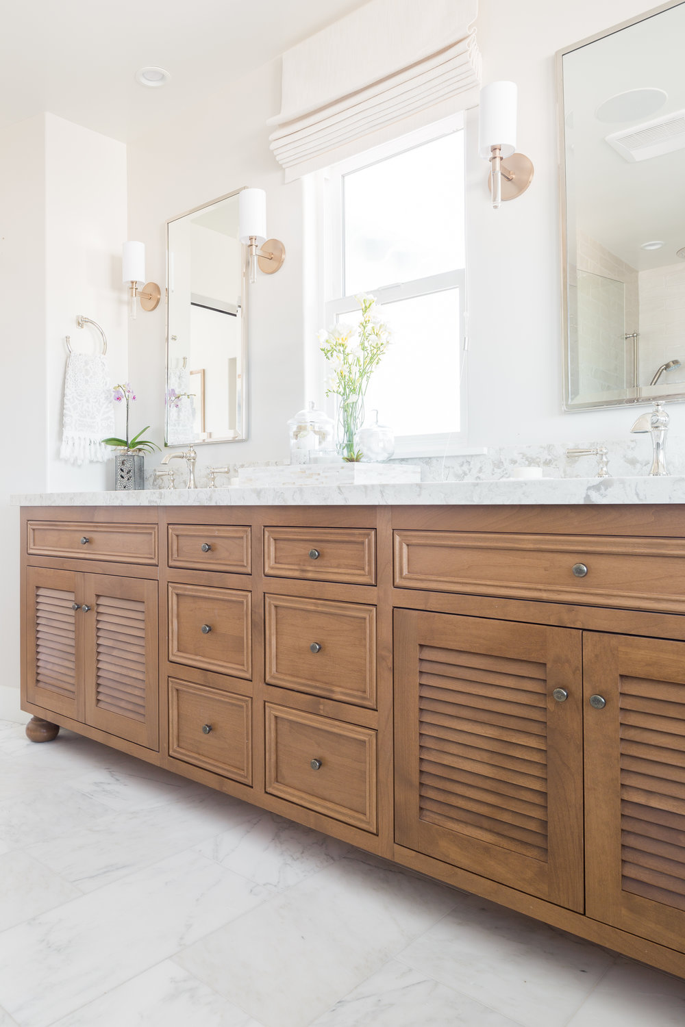 But there is a time and place for a beautiful inset face frame stained wood cabinet and this bathroom is both the time and the place