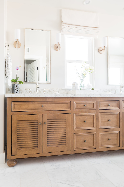 Master Bath Cabinet in Alder with Louvered Doors — Native Oak