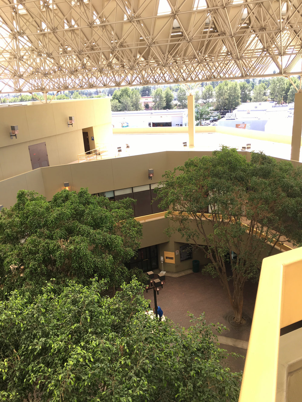 The view of the building's courtyard from OSHA's Van Nuys, CA office.