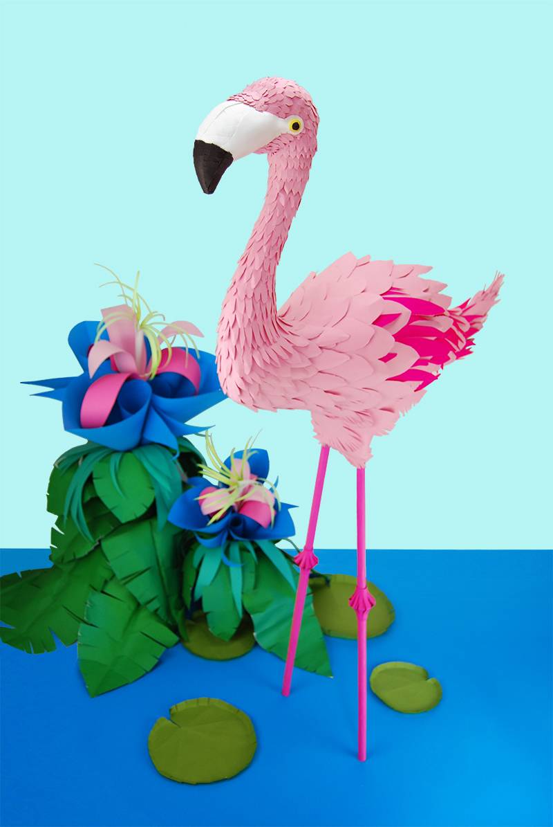 flamingo   coloured paper, hot glue  26cm x 60cm x 120cm  2016
