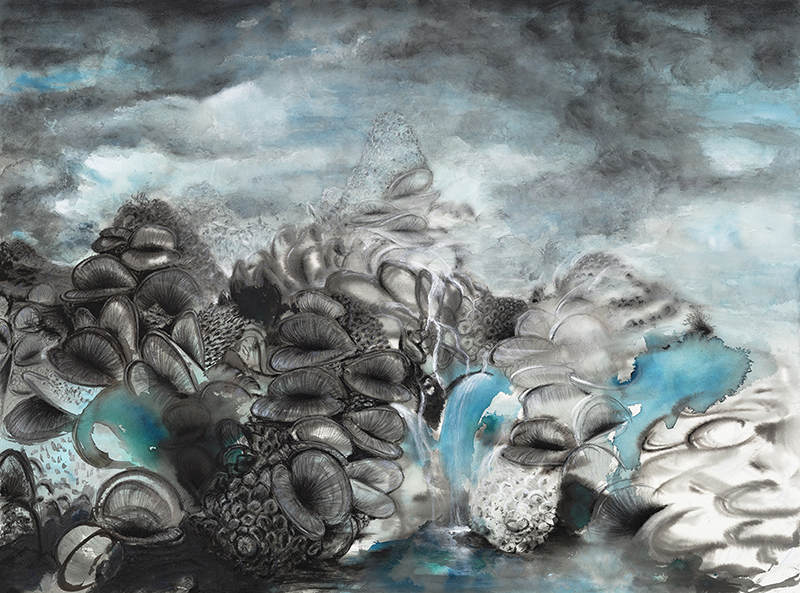 Underworld  - 102cm x 135cm - ink, charcoal, pastel, pencil on Arches paper - framed