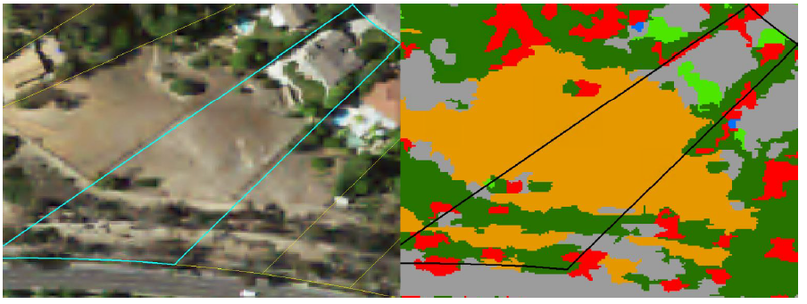 Classification of ground cover types from free NAIP imagery. Left shows an unaltered NAIP image with parcel polygon. Right shows the classifier output with colors representing different ground covers. Turfgrass is visible as bright green.