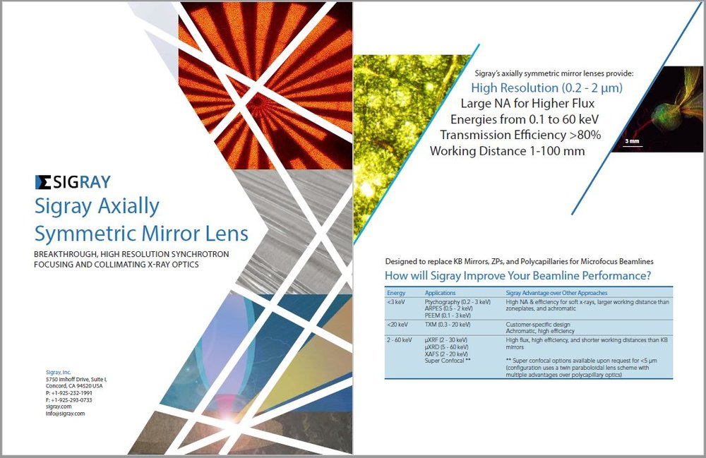 A downloadable brochure on Sigray's optics can be found here.