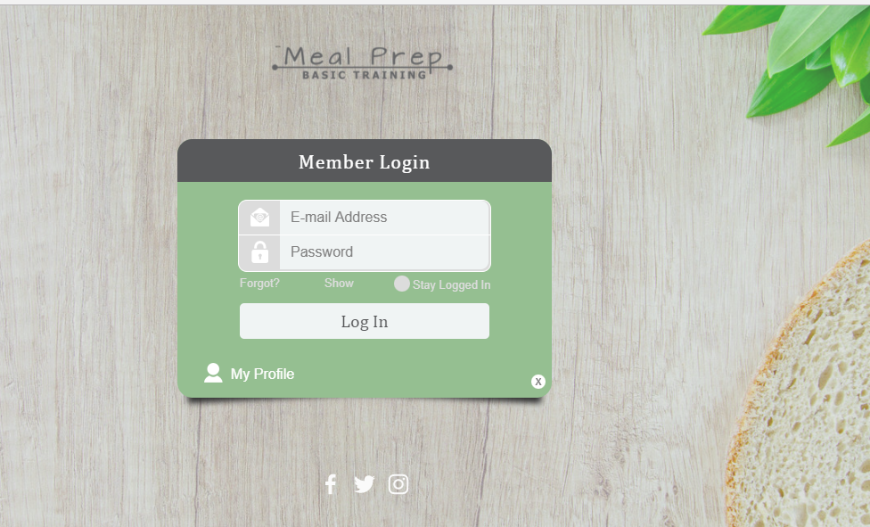 The login page she created!