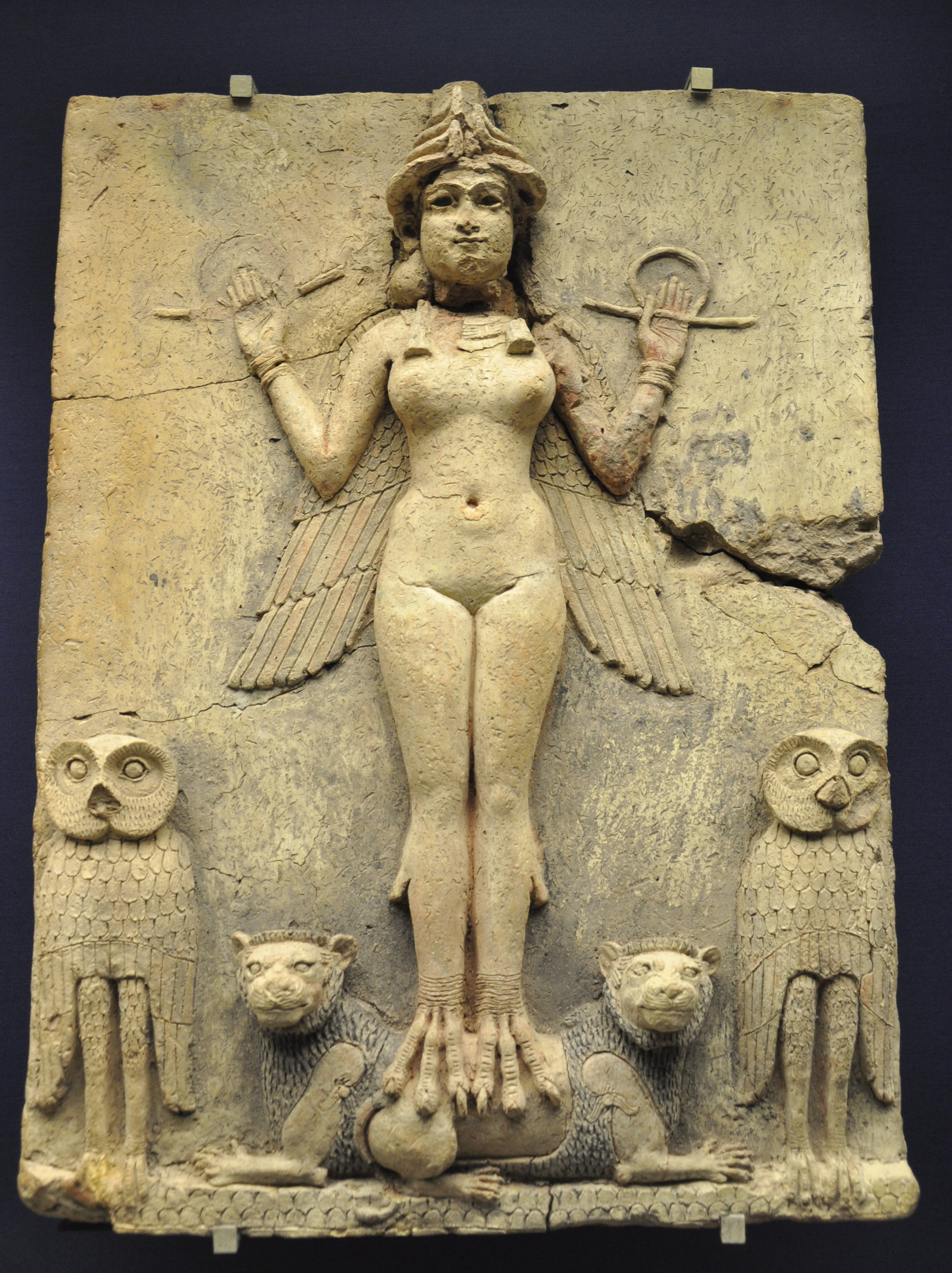 A Babylonian relief of either Ishtar or Erishkigal, the Sumerian queens of Heaven and the underworld. Lillith was handmaiden to Ishtar/Innana. These 3 are each part of the feminine pantheon representing the transformational process and interweaving of birth/life/death