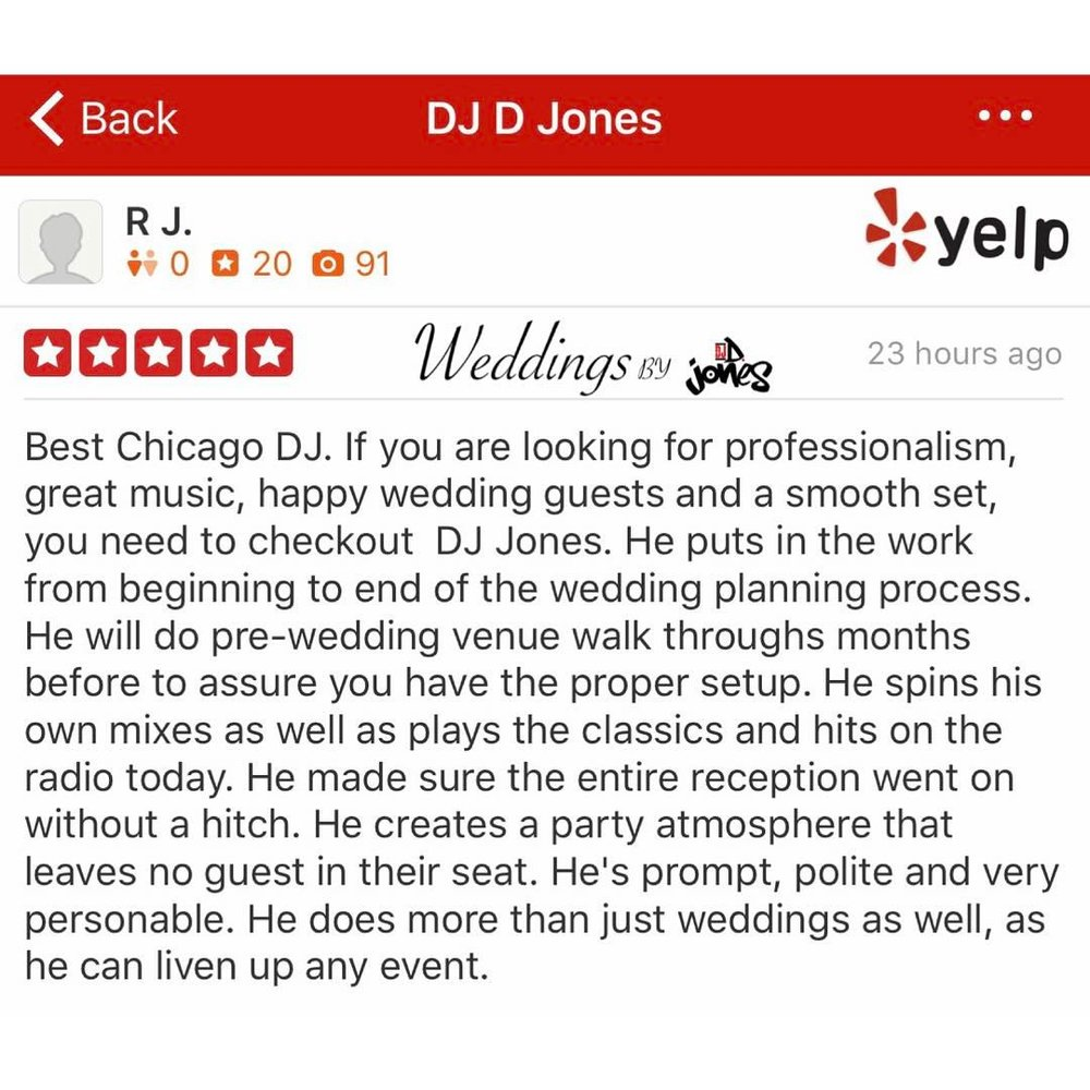 Weddings By DJ D Jones YELP review best rated wedding DJ bride chicago.jpg