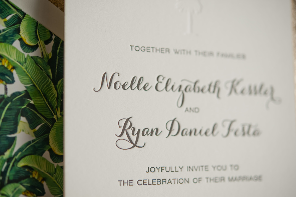 copperwillow.com | Retro Palms Wedding Invitation Suite | Copper Willow Paper Studio | Wedding Stationery and Invitations