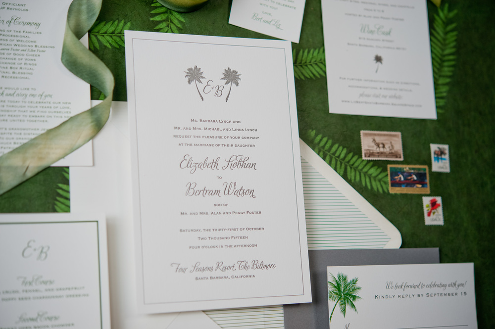 copperwillow.com | Traditional Palms Wedding Invitations | Copper Willow Paper Studio | Palm Tree Wedding Invitations