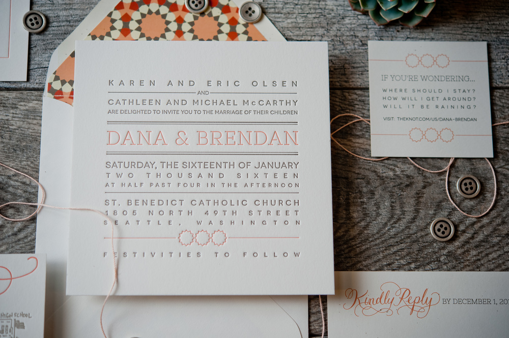 copperwillow.com | Modern Wedding Invitation Collection | Grey and Orange Wedding Stationery | Copper Willow Paper Studio