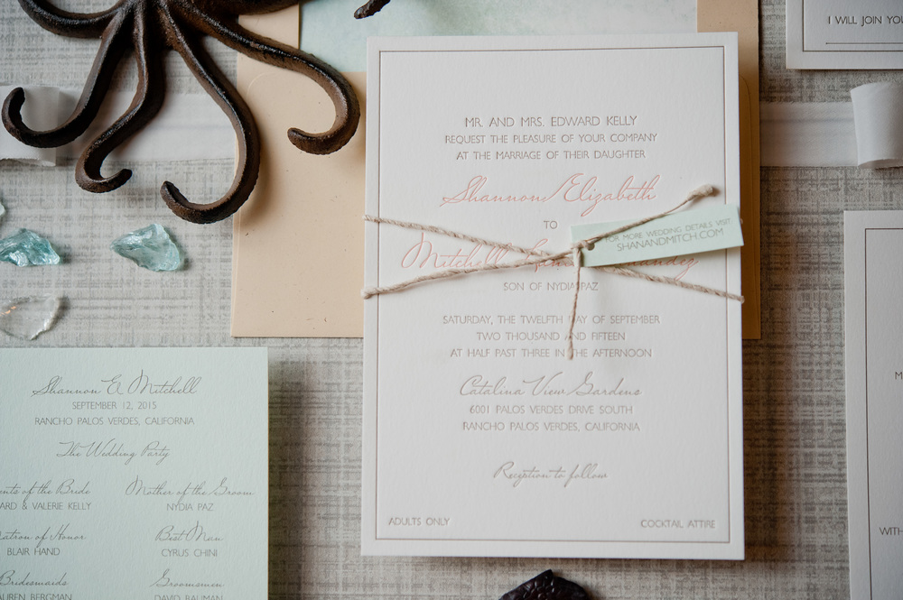 copperwillow.com | Seaglass and Coral Wedding Invitations | Aqua and Peach Wedding Stationery | Copper Willow Paper Studio