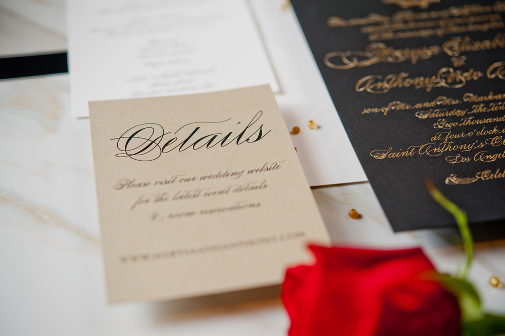copperwillow.com | Black Wedding Invites with Gold Foil Lettering | Copper Willow Paper Studio | Luxe Wedding Invites