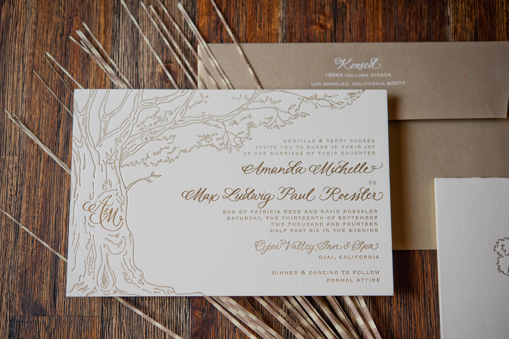 copperwillow.com | Hand Drawn Wedding Invitations | Oak Wedding Stationery | Copper Willow Paper Studio | Brown and Ivory Wedding Invites