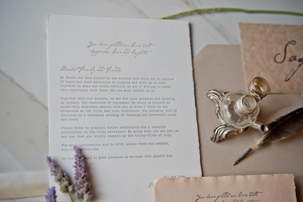 copperwillow.com | Sunstone Winery Wedding Invitations | Love Letter Wedding Invites | Copper Willow Paper Studio