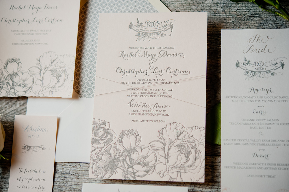 copperwillow.com | Rose Garden Themed Wedding Invitations | Copper Willow Paper Studio | Grey and Blush Wedding Invites