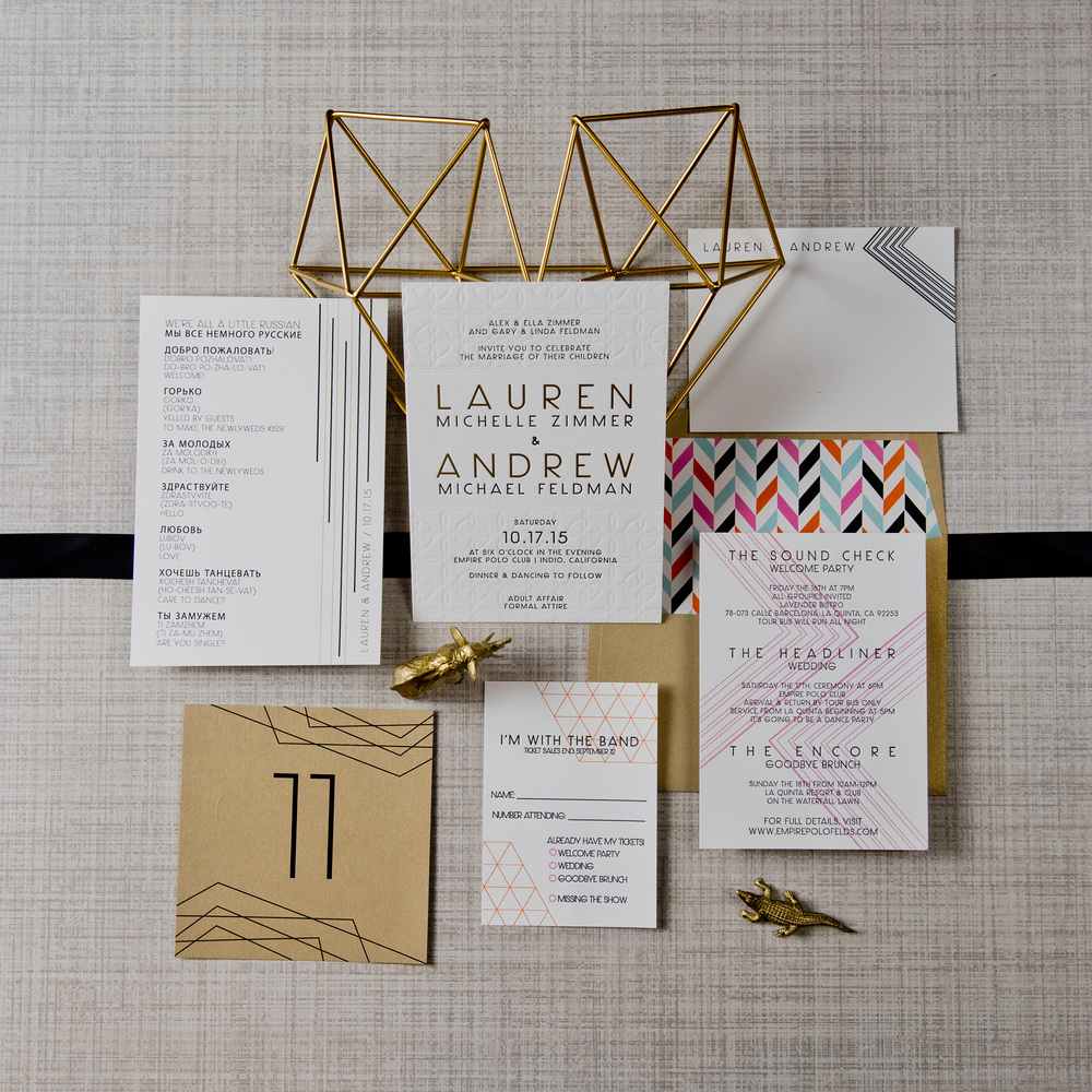 Geometric Wedding Invitations by Copper Willow Paper Studio