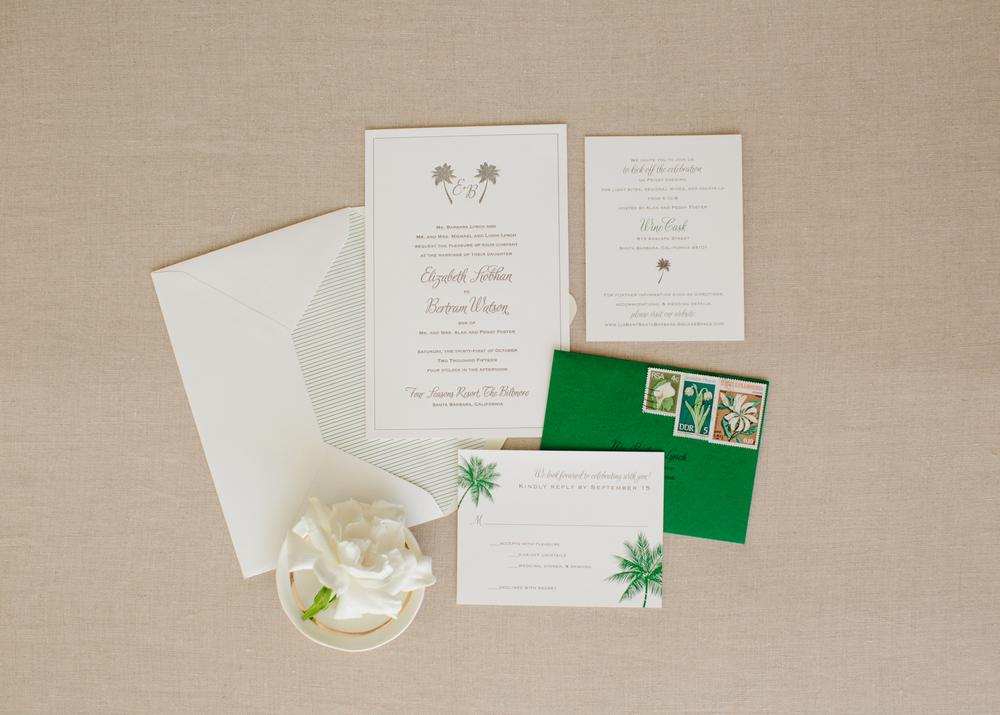 copperwillow.com | 100 Layer Cake classic Santa Barbara wedding feature | Green letterpress invitation