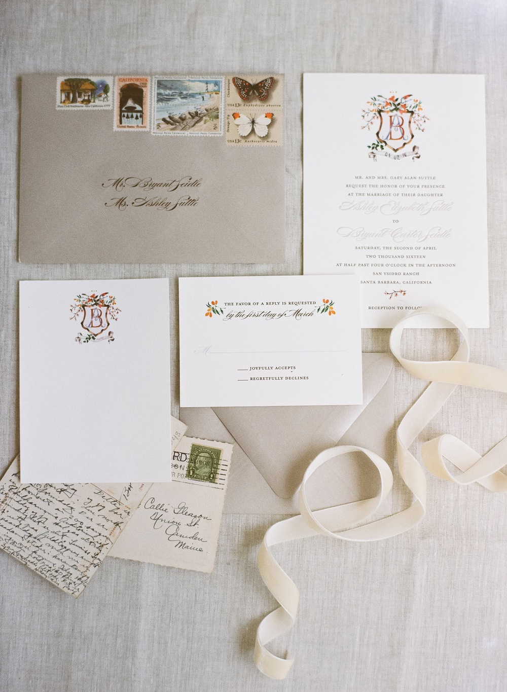 copperwillow.com | san ysidro ranch wedding with lavender letterpress invitations