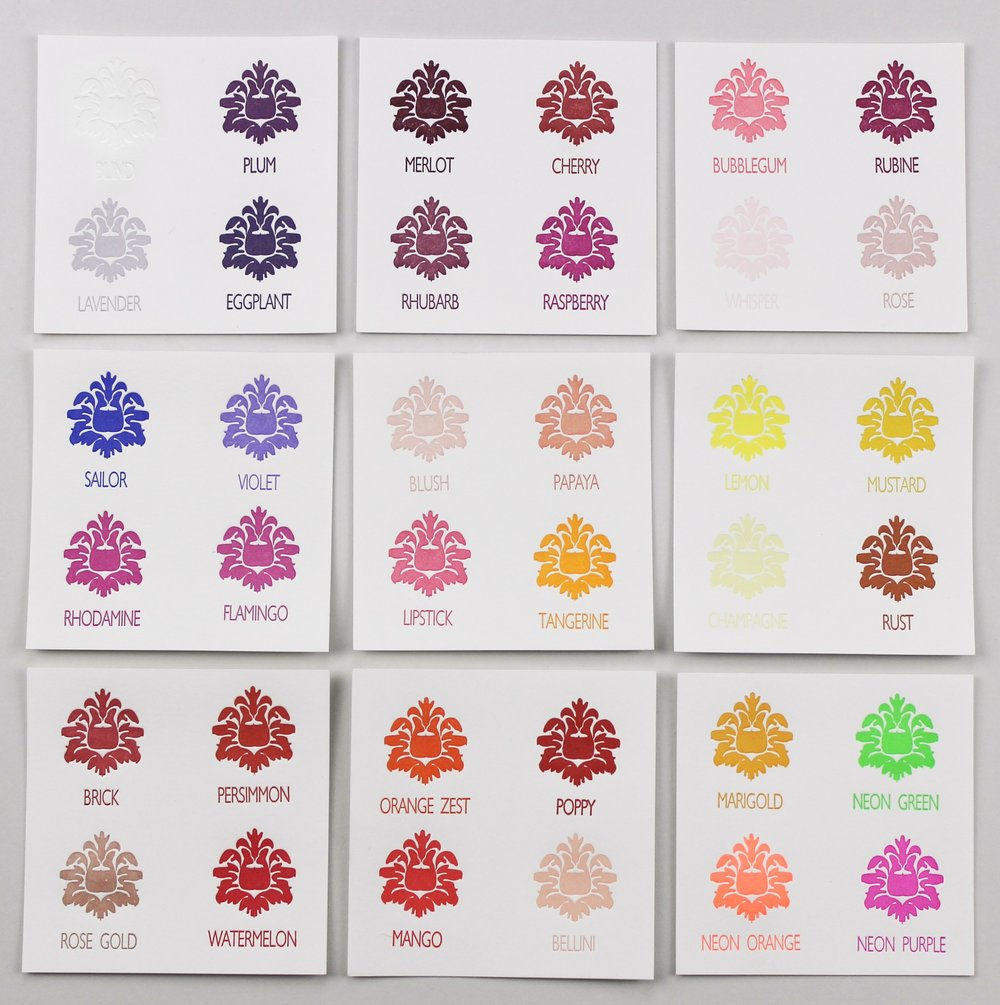 Letterpress colors - warm - Download the full ink list for Pantone numbers