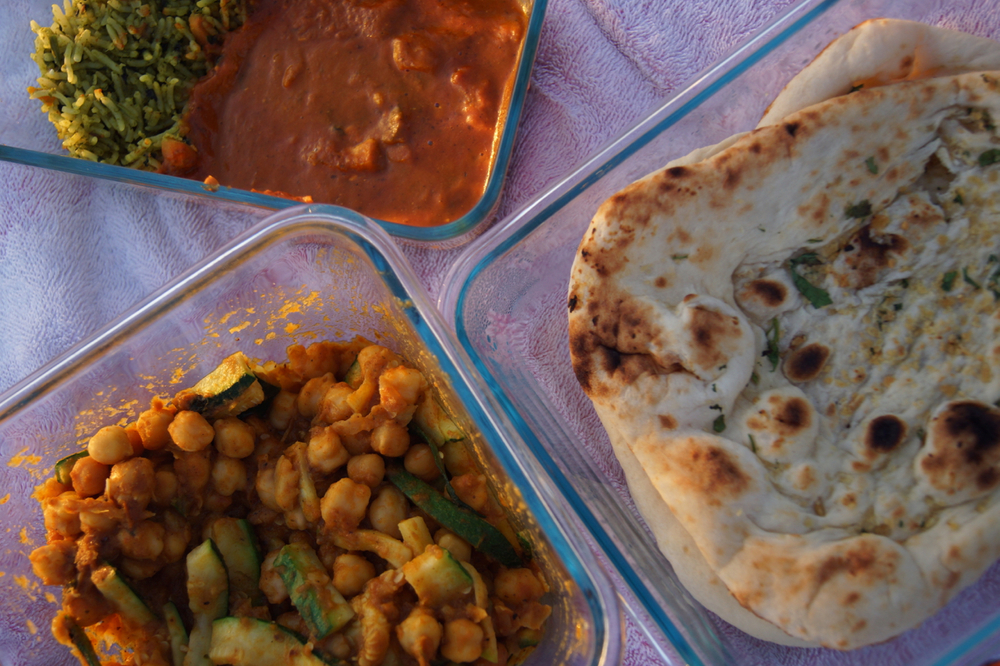 Paneer Tikka Masala, Garlic Naan, and Channa Masala + some added CSA veggies