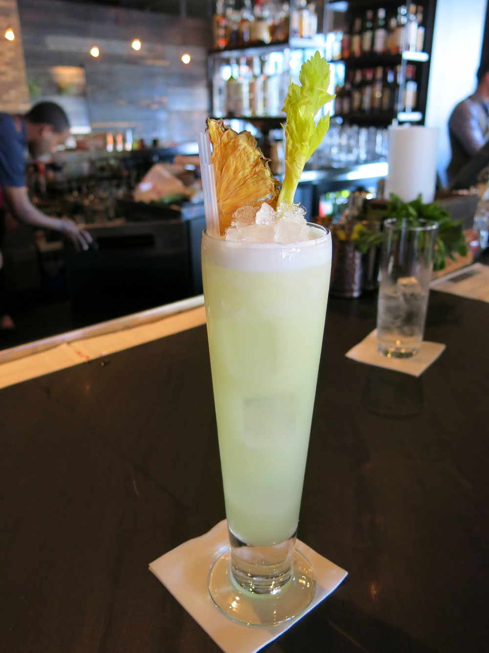 The Bitter Mendez, made with Milagro tequila, pineapple juice, fresh lime, and celery bitters.