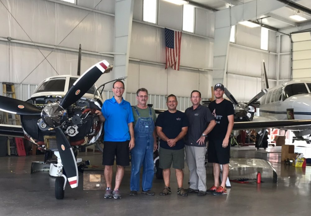 Summit Aviation's fantastic maintenance team! Left to right-David Westphal, Doug Dorothy, Manny Burgos, Brandon Nolker, Eddie McChristan