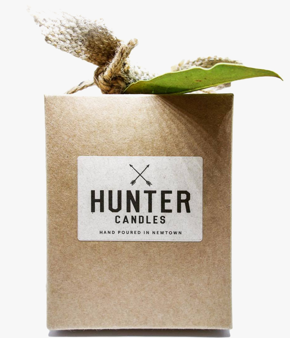 Our signature Hunter Candles Box with hessian leaf and Magnolia leaf