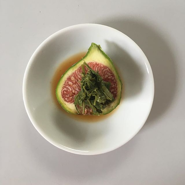 #spham shawn and I just created 'amuse'  fig and green tea leaf, ponzu. This was happening everyday when we were at Sona being line cooks. I love the friendship with him:)