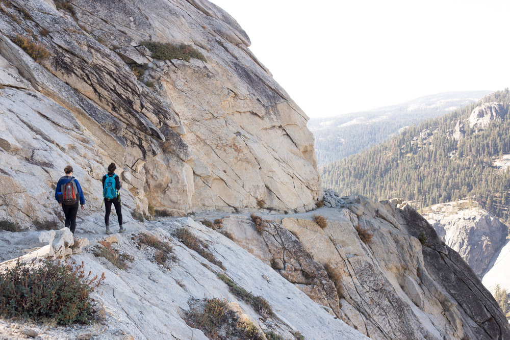 """Watchtower Trail travels for a half mile along a ledge blasted from a sheer cliff high above the Marble Fork of the Kaweah River canyon."""