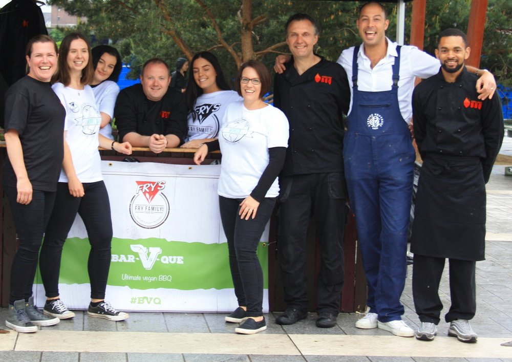 The winning team together Fry's Family Foods and Fabulous BBQ served 1000 vegan burgers and sausages