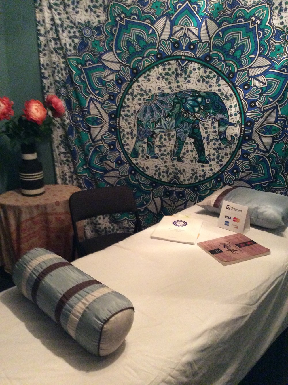 A look at Heather Larson's Reiki and Life Coaching room at White Dove metaphysical bookstore and yoga studio in Wichita, Kansas, 2017.