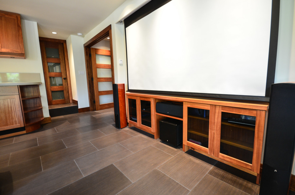 Built-in entertainment center with drop down projector screen