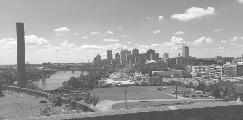 view of downtown nashville + cumberland river, photographed from slaughterhouse roof