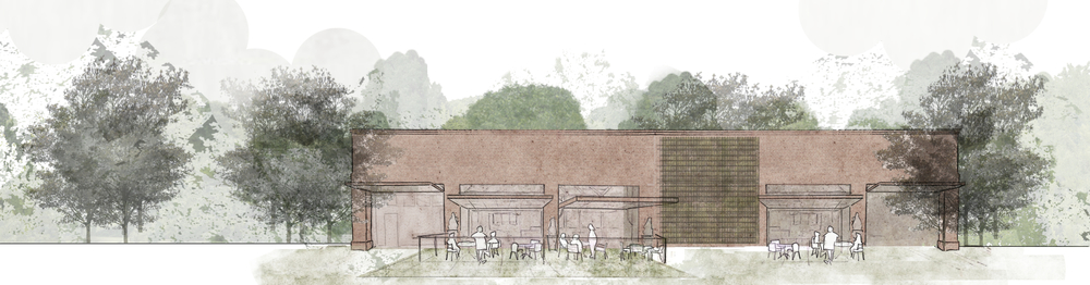 sketch elevation of the brewery/restaurant as a community amenity