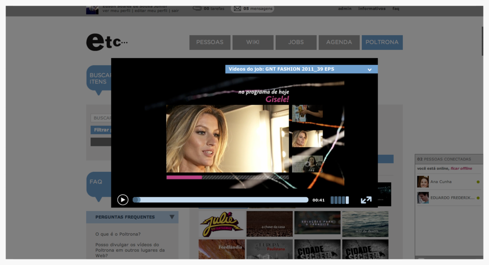 Video player allowed streaming all catalog of TV shows, films, advertisement spots, including old productions from the archives.