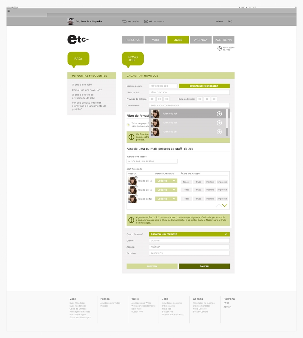 Mockup: form page to create a new job