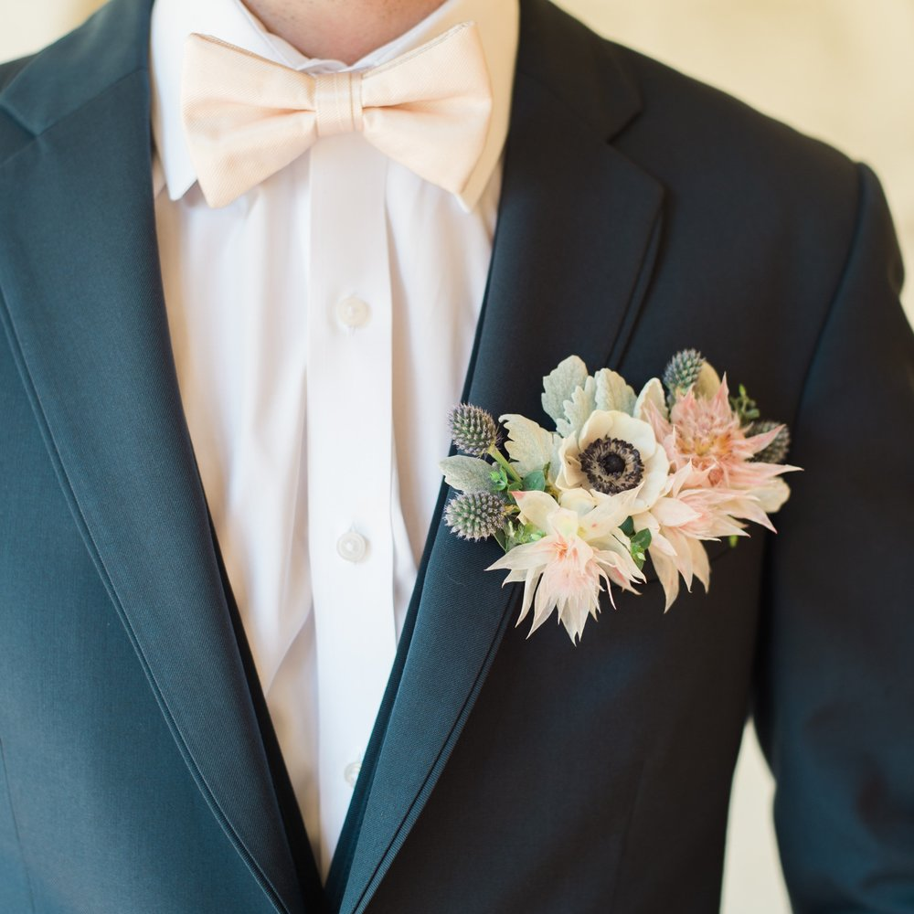 Groom florals peach navy and cream | Laceroots Floral