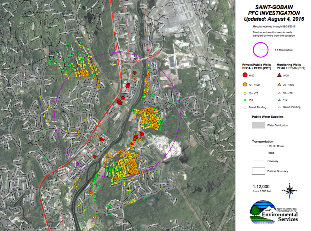 Latest NH DES groundwater test results in vicinity of Merrimack, NH Saint-Gobain plant