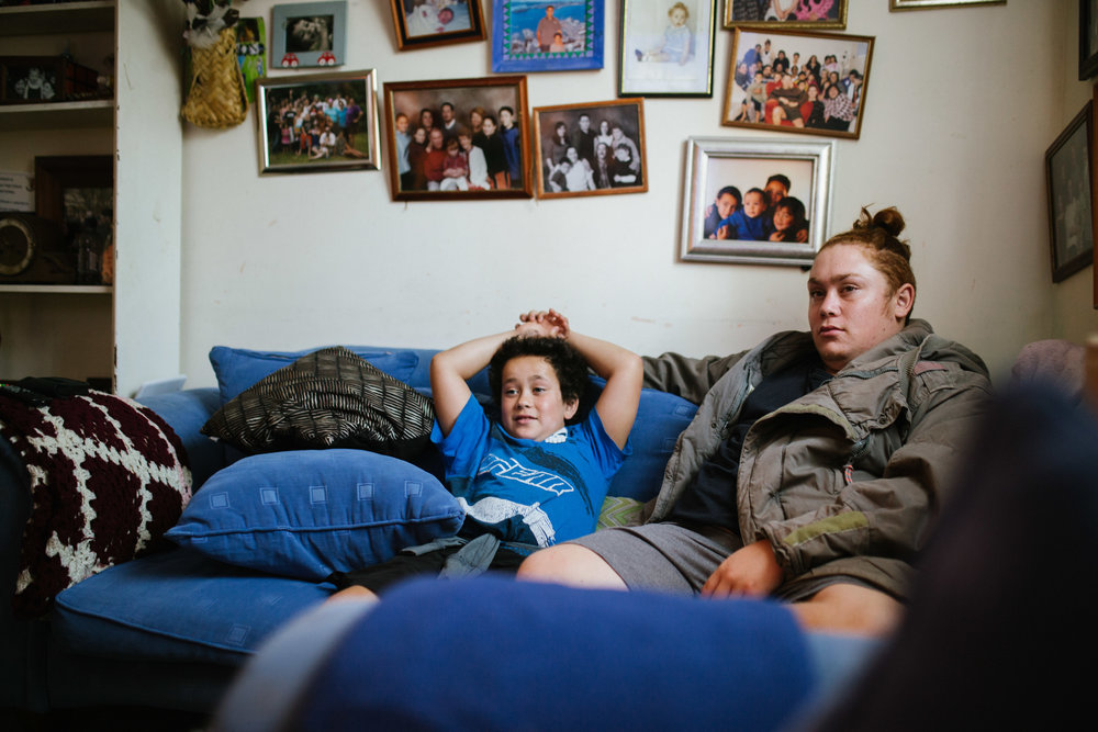 April 25 2017.   My two younger cousins, Brothers' Jackson and Travis, sit in their family's living room, surrounded by family portraits on the walls. I spent many visits with little Jackson, who is the youngest sibling, and travelled the North island with Travis.